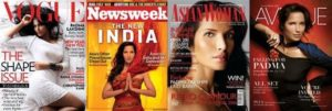 Padma Lakshmi on the covers of different Magazines
