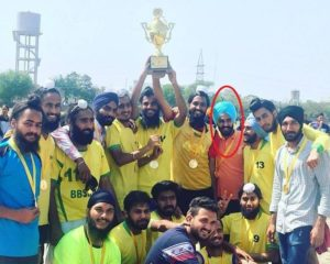 Prabh Somal with his football team after winning a match in his college