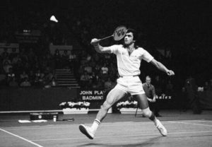 Prakash Padukone playing badminton