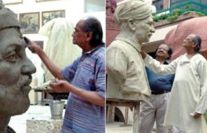 Ram V Sutar making sculptures