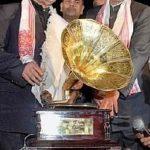 Bhupen Hazarika receiving Asom Ratna Award