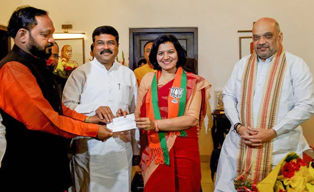 Dharmendra Pradhan and Amit Shah welcomed Aprajita in BJP