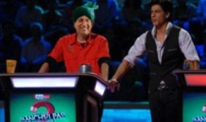 Om Prakash Chautala on the sets of Kya Aap Paanchvi Pass Se Tez Hain