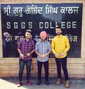 Sukh Kharoud with his college friends Davi Singh and Guri Singh