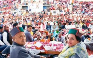 Virbhadra Singh and Pratibha Singh during an Event