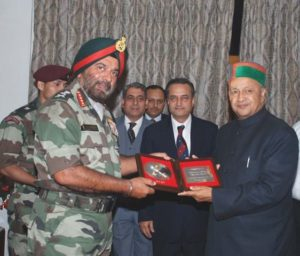 Virbhadra Singh as honorary Captain in the Indian Army