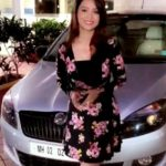 Adaa Khan poses with her Skoda car