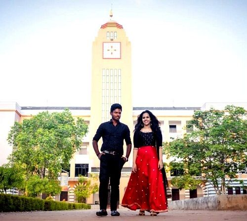 Charulatha and Sanju Samson at Mar Ivanios College, Thiruvananthapuram