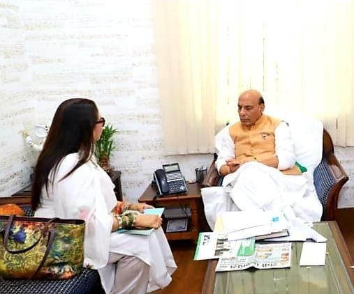 Priti Sapru with Rajnath Singh