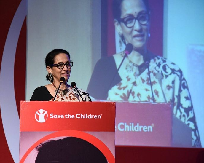 Swaroop Sampat giving a speech at NGO- Save the Children India