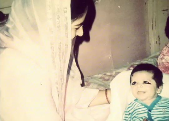 Shoaib Ali with his mother- Childhood Picture