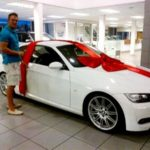 Hardus Viljoen with his car