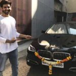 Kartik Aaryan With His BMW 5 Series Car