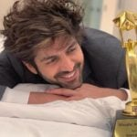Kartik Aaryan With His Masala Award - Best Actor for Sonu Ke Titu Ki Sweety