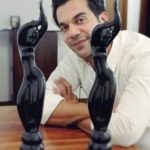 Rajkummar Rao With His Filmfare Awards For Bareilly Ki Barfi And Trapped