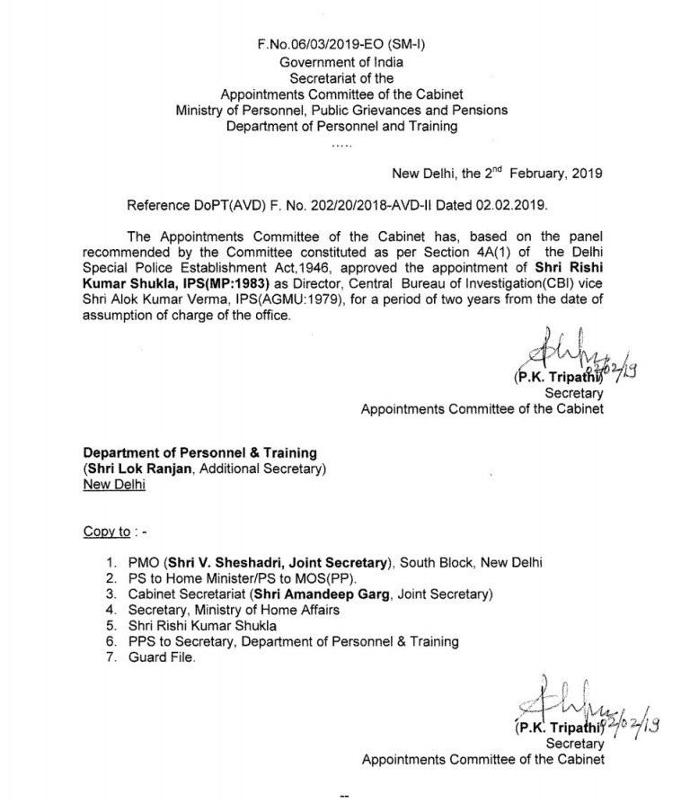 Rishi Kumar Shukla's Appointment Letter As CBI Director
