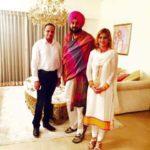 Ruby Yadav with her husband, Vinay Yadav, and Navjot Singh Siddhu (Center)