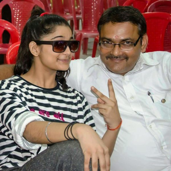 Vartika Jha With Her Father