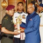 Mahendra Singh Dhoni while receiving Padma Bhushan Award