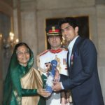 President Pratibha Patil presents the Padma Shri award to boxer Vijender Singh