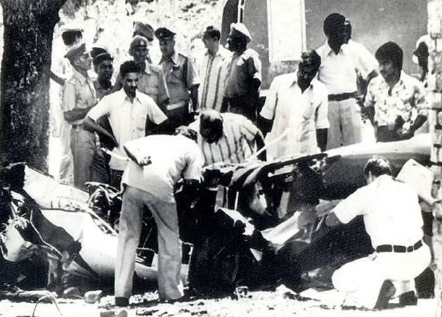 Sanjay Gandhi's Aircraft Being Inspected By The Police