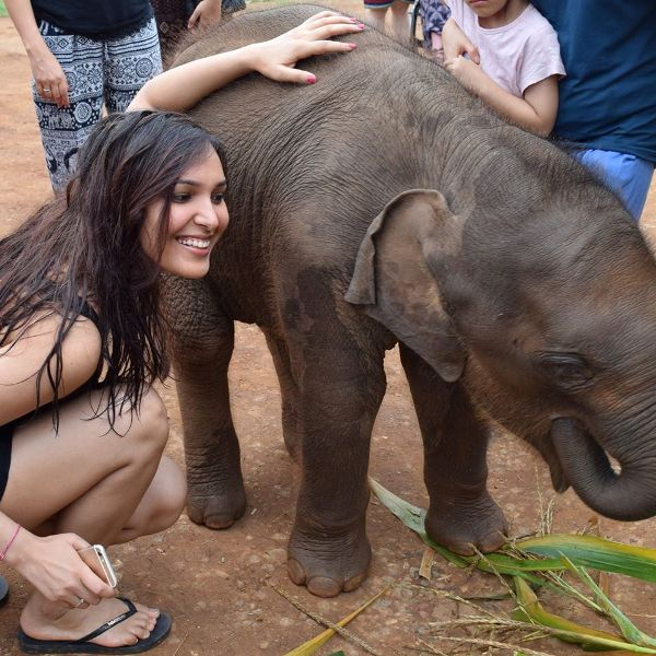 Sonal Chouhan With A Baby Elephant