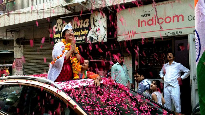 Atishi Marlena In Her First Rally As Lok Sabha Candidate
