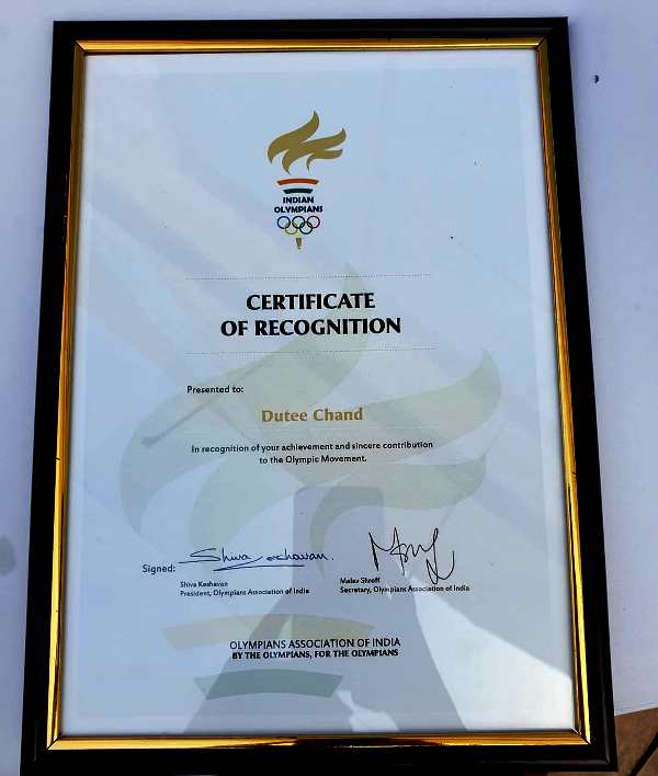 Certificate of Recognition to Dutee Chand By The Olympians Association of India