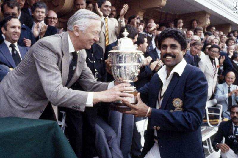Kapil Dev Holding The 1983 ICC Cricket World Cup Trophy