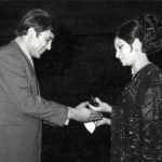 Sharmila Tagore receiving Filmfare Award