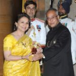 Sharmila Tagore receiving the Padma Bhushan from the President of India