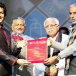 Sonu Nigam Receiving Haryana Gaurav Samman