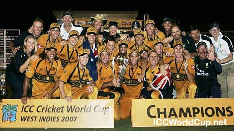 The Australian Squad With The 2007 ICC Cricket World Cup Trophy