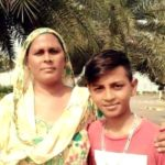 Aftab Singh with his mother