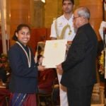 Dipa Karmakar Receiving Rajiv Gandhi Khel Ratna