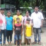 Hima Das Family- Ranjit (father), Rinti (sister), Jonali (mother), Barsha and Basanta (younger siblings), Puspalata (aunt) and Hima's friend Nabajyoti Saikia