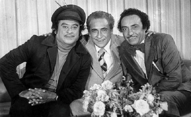 Kishore Kumar (left) with his Brothers Ashok Kumar (centre) and Anoop Kumar (right)