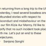 Sanjana Sanghi controversy