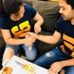 Sreemukhi Tying Rakhi to her Brother
