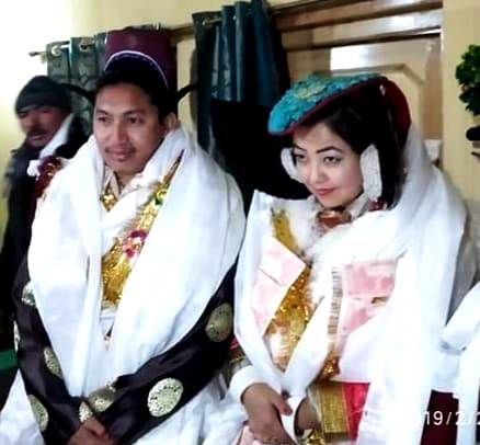 Jamyang Tsering Namgyal with his wife Sonam Wangmo on his wedding day