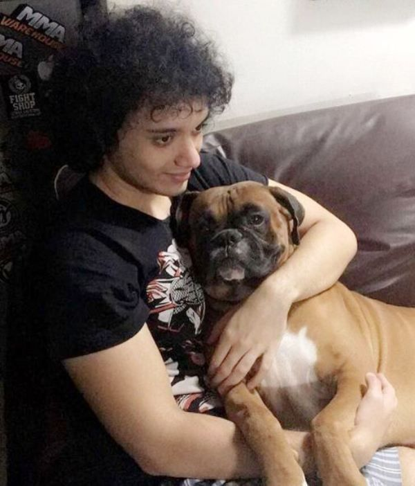 Namashi Chakraborty with his pet dog
