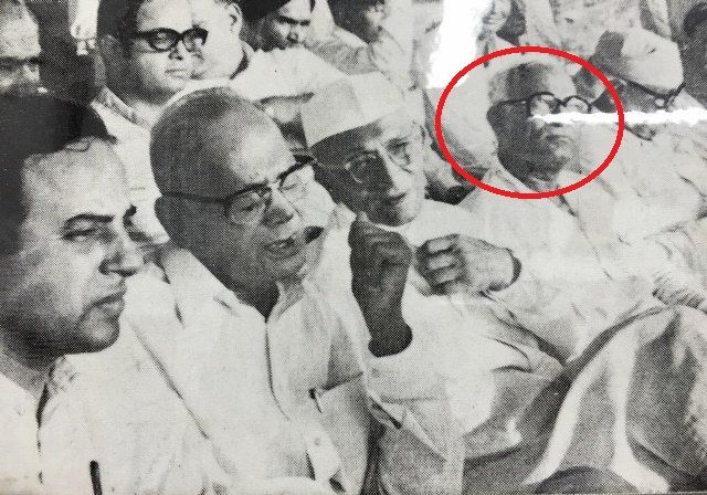 Nanaji Deshmukh (in red circle) with Morarji Desai