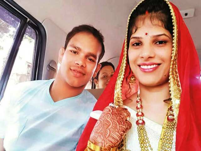 Narsingh Yadav with his wife
