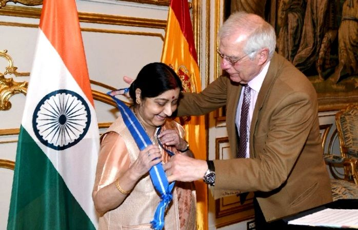 "Sushma Swaraj Being Conferred With ""The Grand Cross of Order of Civil Merit"" Honour"