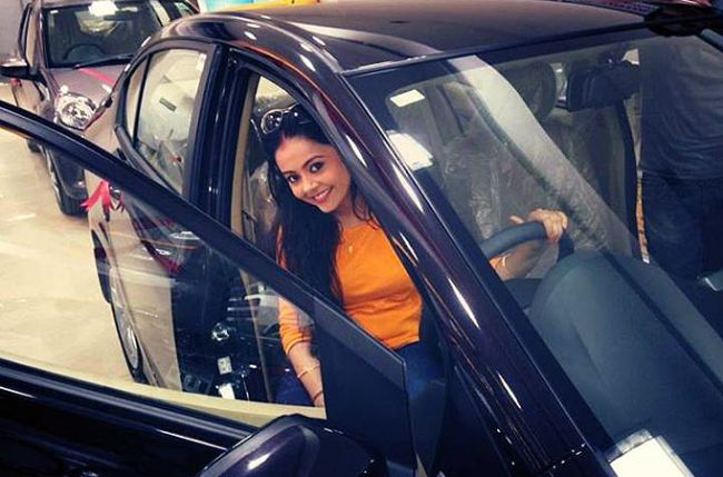 Devoleena Bhattacharjee in her car