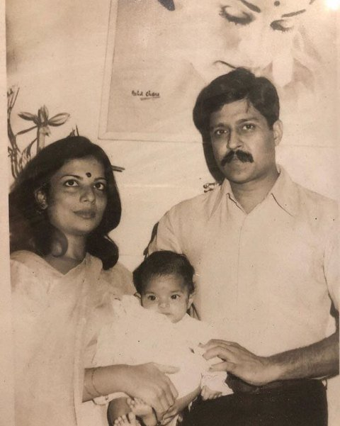 Madhu Chopra with her husband and daughter