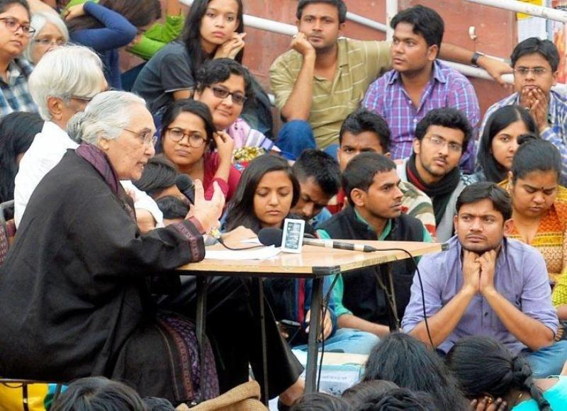 Romila Thapar in the JNU Campus
