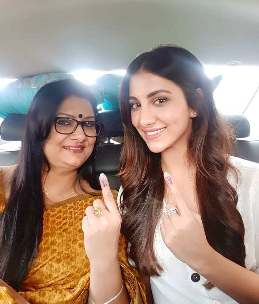 Rukmini Maitra with her mother