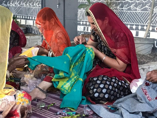 Ruma Devi Doing Embroidery