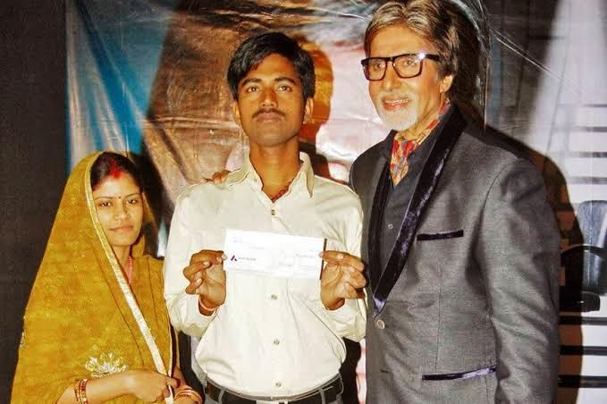 Sushil Kumar along with his wife and Amitabh Bachchan